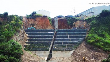 Rehabilitación del talud ribereño, proximidad a la autopista nacional No. 4, Taichung, Taiwán