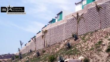 Construction du mur de soutènement MSE pour la sécurité résidentielle, Mexique