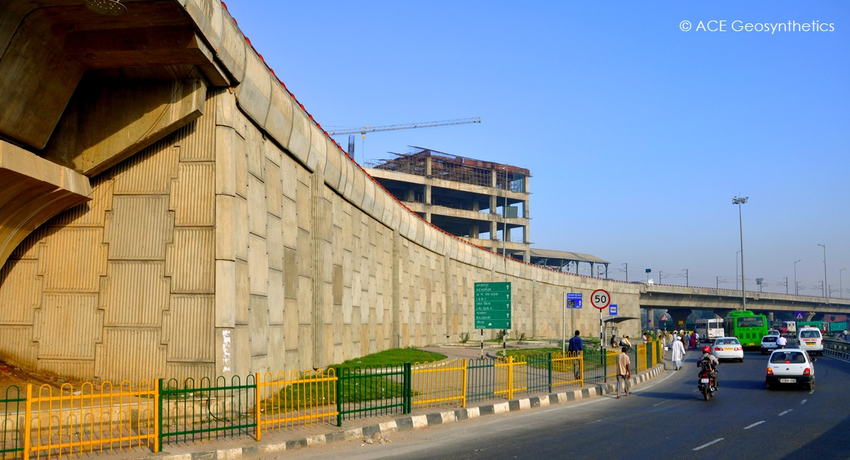 Reinforced Earth Structure, Faridabad Skyway (Badarpur Flyover), Delhi, India